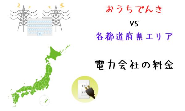 おうちでんきと各都道府県エリア電力料金